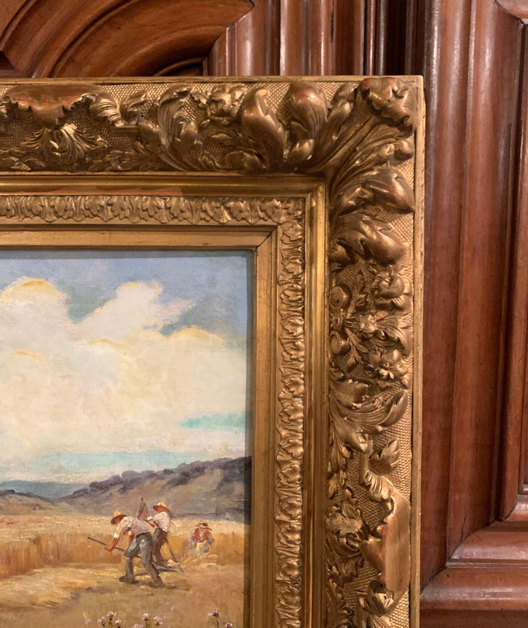 Pair of 19th Century Oil on Canvas Pastoral Paintings in Carved Gilt Frames For Sale 6