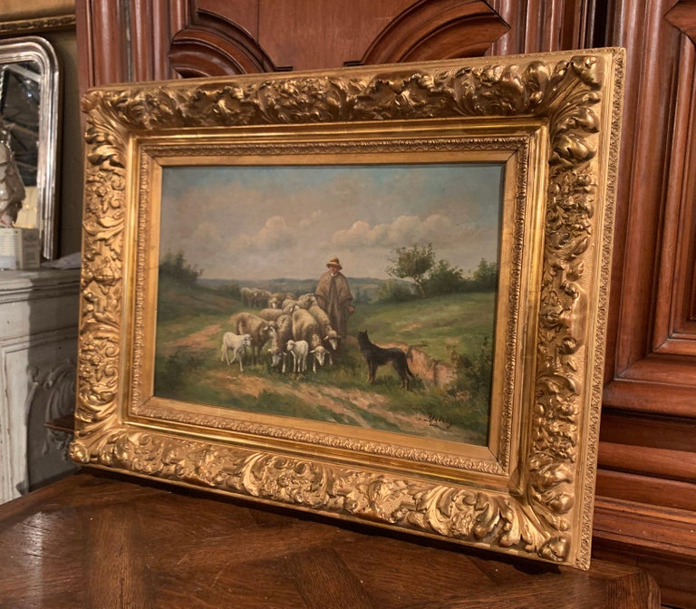 Pair of 19th Century Oil on Canvas Pastoral Paintings in Carved Gilt Frames For Sale 9