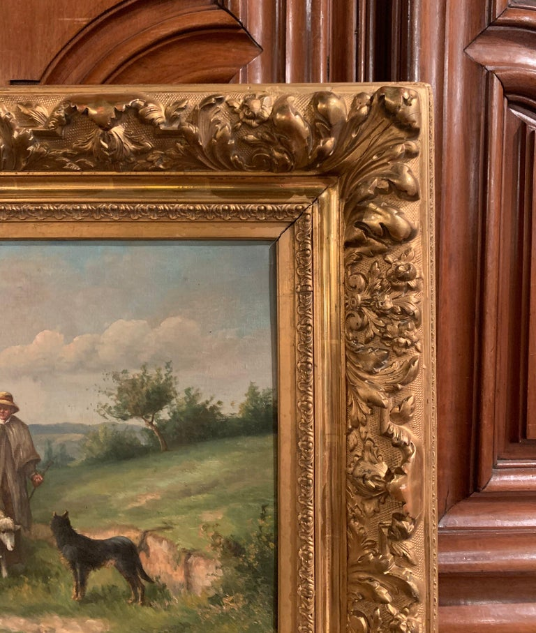 Pair of 19th Century Oil on Canvas Pastoral Paintings in Carved Gilt Frames For Sale 10
