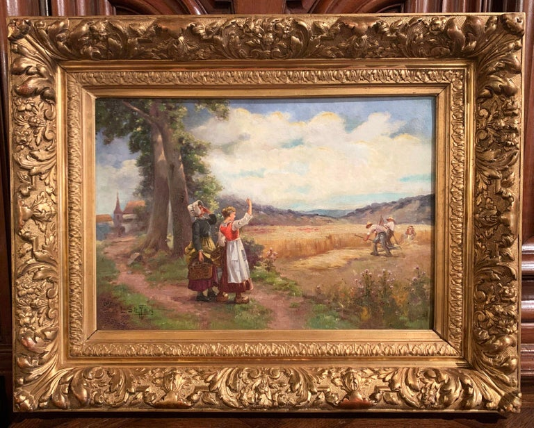 Created in France circa 1880 and set in the original carved giltwood frames, these two colorful paintings depict a pastoral scene with landscape, people and farm animals. One canvas signed Madrazi in the lower right corner, depicts a farmer with his