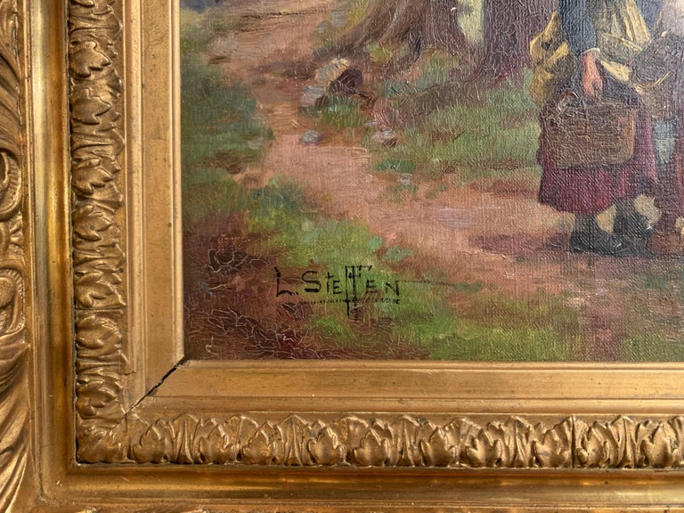 Pair of 19th Century Oil on Canvas Pastoral Paintings in Carved Gilt Frames In Excellent Condition For Sale In Dallas, TX