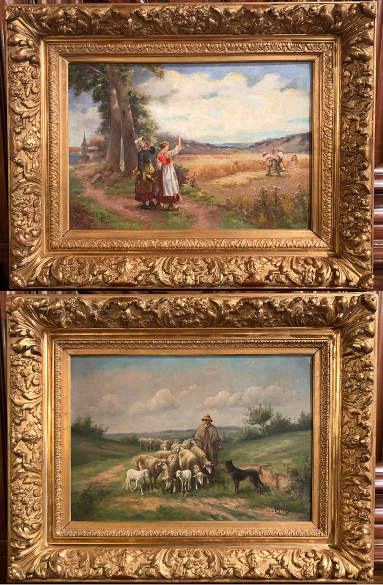 Pair of 19th Century Oil on Canvas Pastoral Paintings in Carved Gilt Frames For Sale 1
