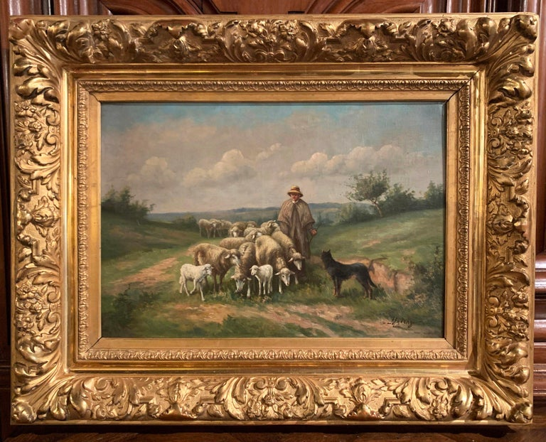 Pair of 19th Century Oil on Canvas Pastoral Paintings in Carved Gilt Frames For Sale 2