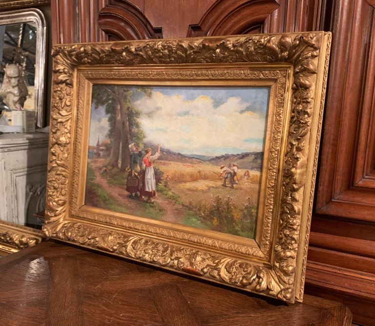 Pair of 19th Century Oil on Canvas Pastoral Paintings in Carved Gilt Frames For Sale 5