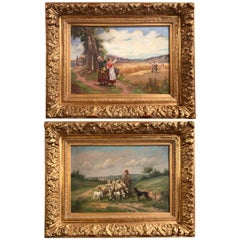 Pair of 19th Century Oil on Canvas Pastoral Paintings in Carved Gilt Frames