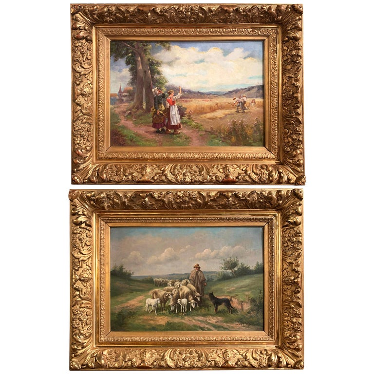 Pair of 19th Century Oil on Canvas Pastoral Paintings in Carved Gilt Frames For Sale