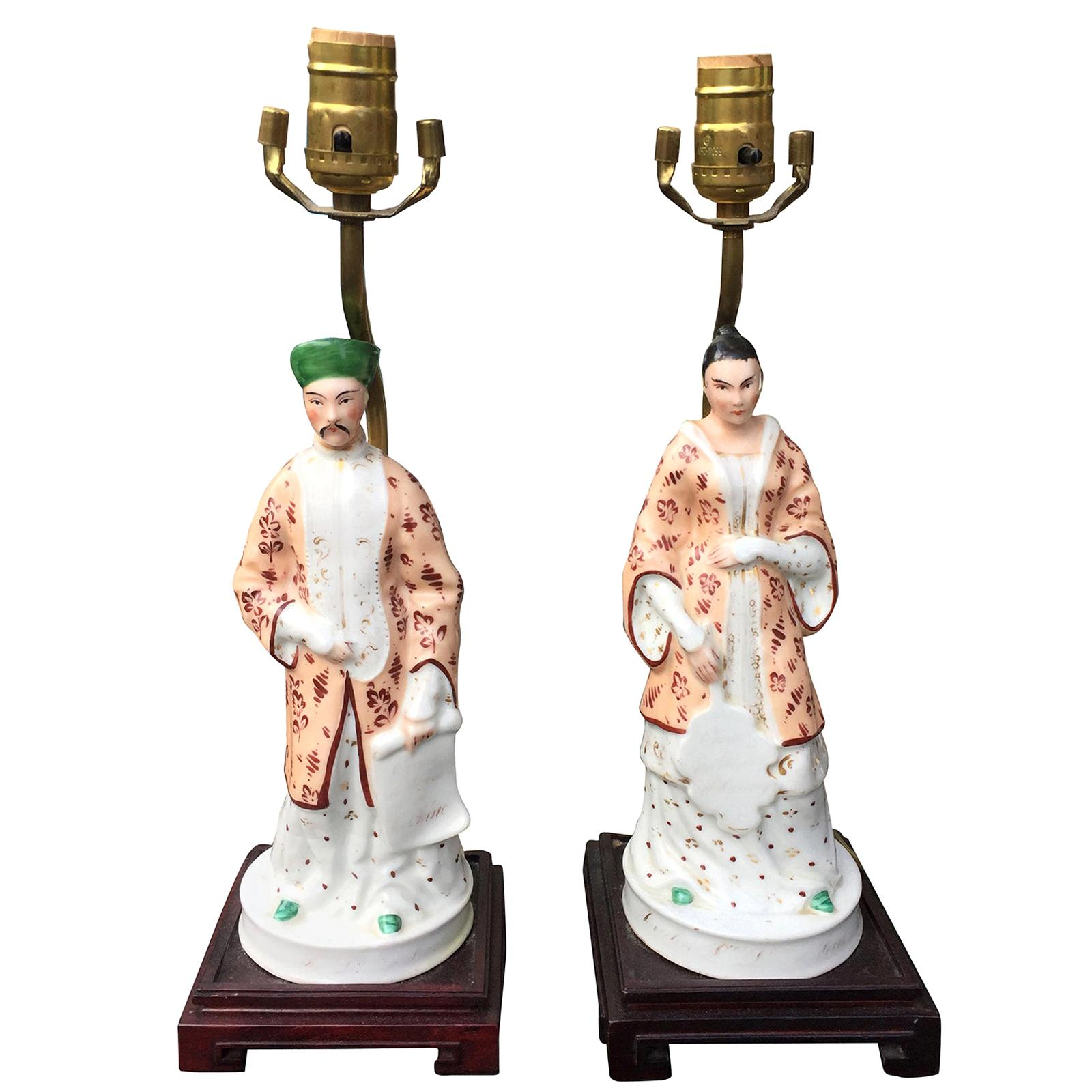 Pair of 19th Century Old Paris Porcelain Figures Mounted as Lamps