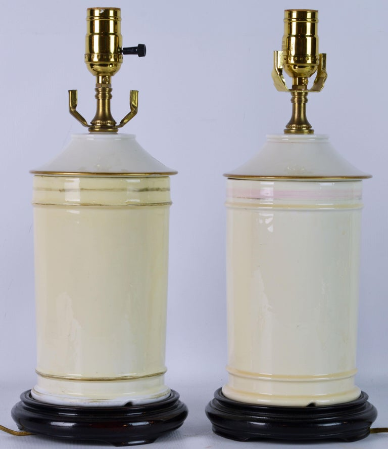 French Pair of 19th Century Old Paris Tropical Themed Apothecary Jars Table Lamps For Sale