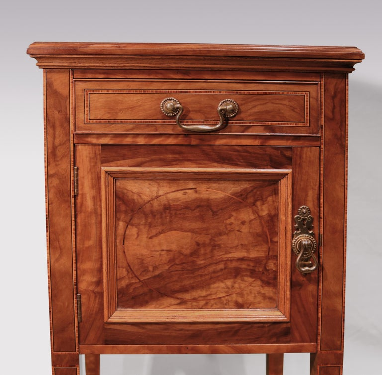 English Pair of 19th Century Olivewood Bedside Cabinets For Sale