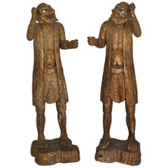 Pair of 19th Century Oni Figures Japanese Wood Carved