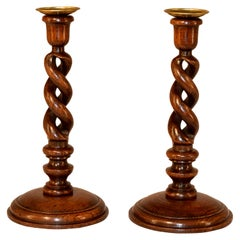 Pair of 19th Century Open Barley Twist Candlesticks
