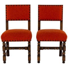 Pair of 19th Century Orange Red Louis XIII Style Walnut Chairs