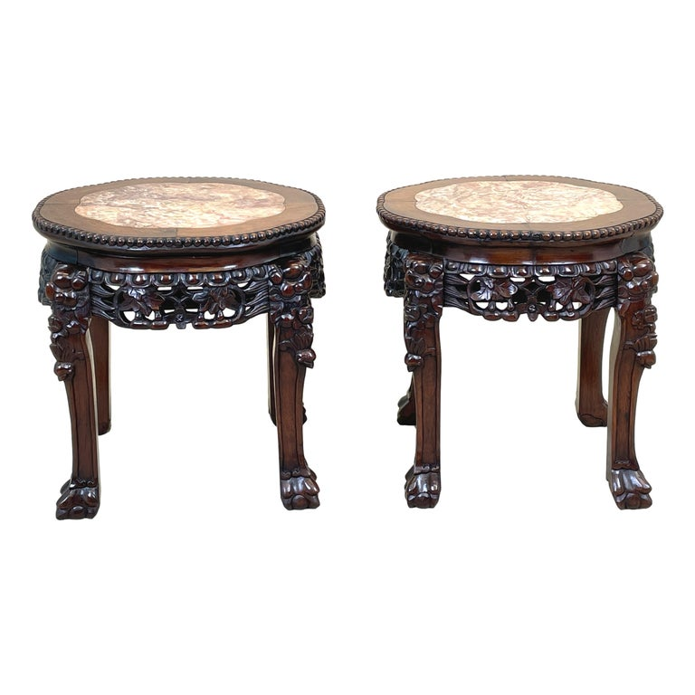 Pair of 19th Century Oriental Hardwood Coffee Tables For Sale 3