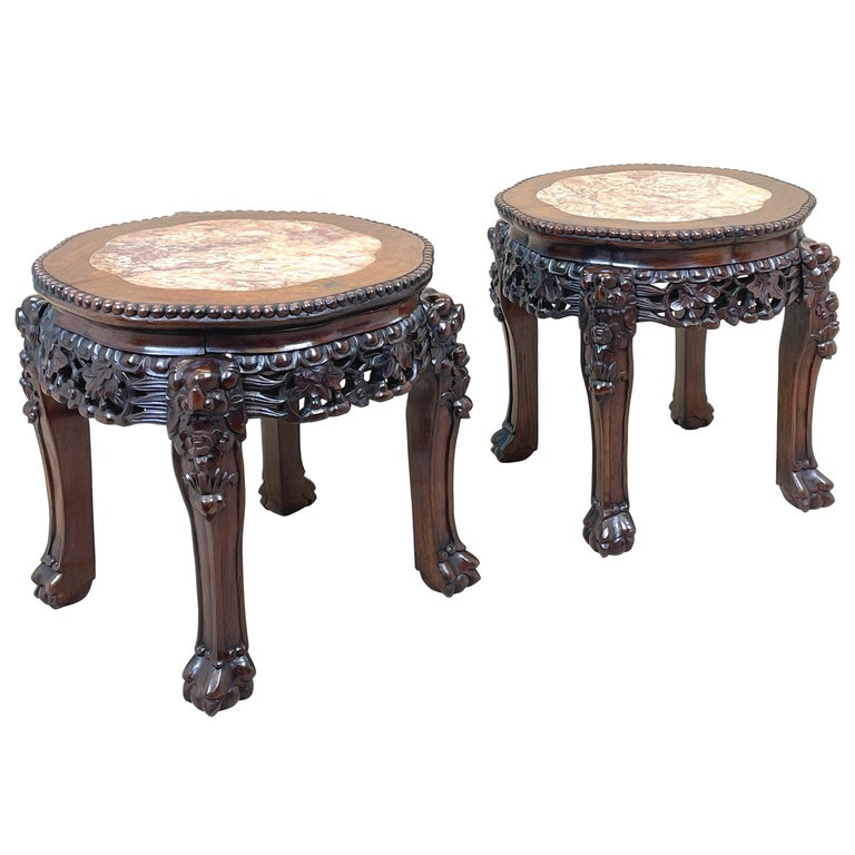 Pair of 19th Century Oriental Hardwood Coffee Tables For Sale