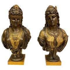 Pair of 19th Century Orientalist Bronze Busts