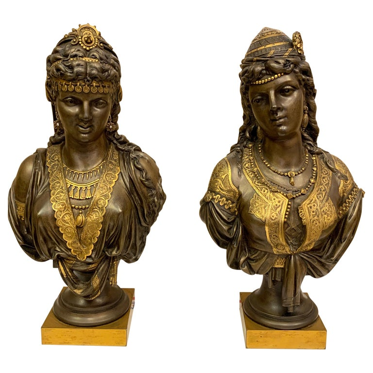 Pair of 19th Century Orientalist Bronze Busts For Sale