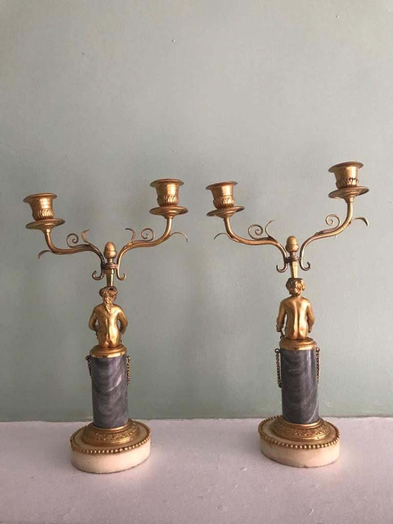 Baltic Pair of 19th Century Ormolu and Marble Candelabra For Sale