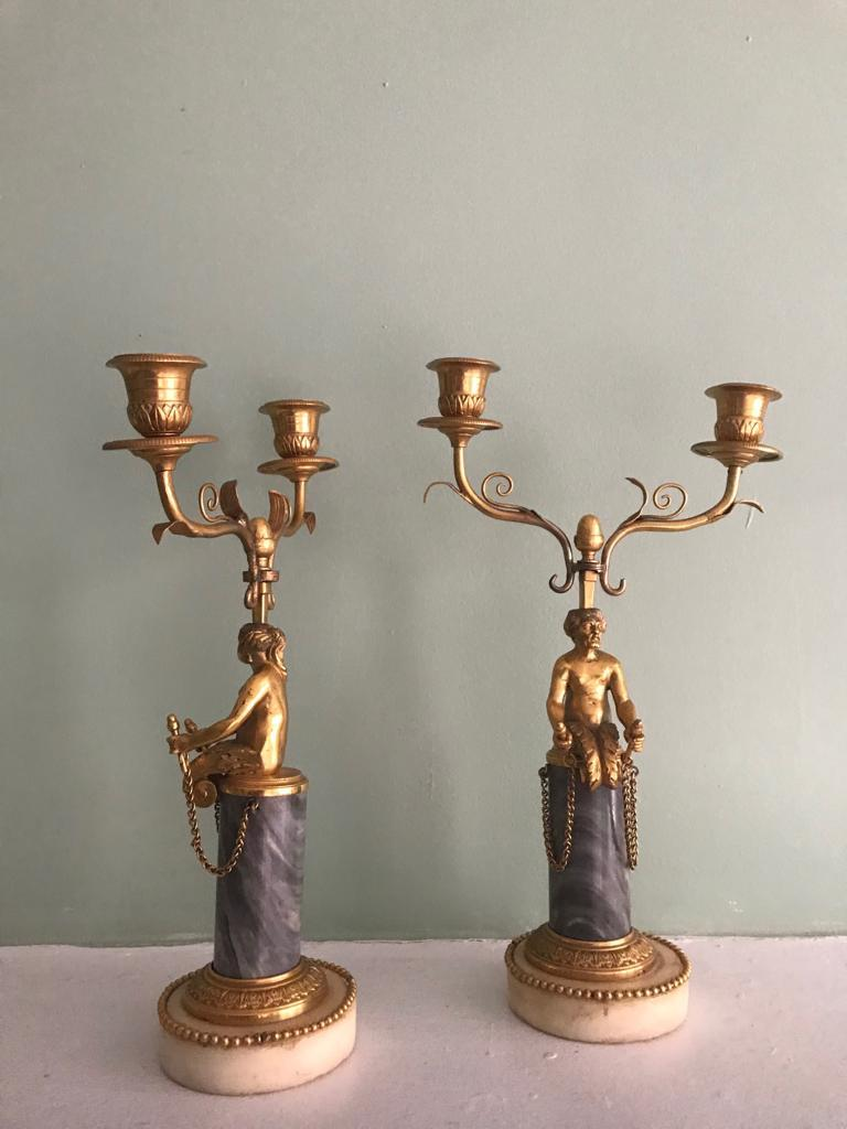 Pair of 19th Century Ormolu and Marble Candelabra In Good Condition For Sale In NEW YORK, NY