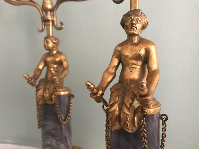 Pair of 19th Century Ormolu and Marble Candelabra For Sale 1