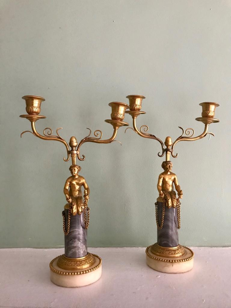 Pair of 19th Century Ormolu and Marble Candelabra For Sale 2