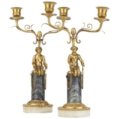 Pair of 19th Century Ormolu and Marble Candelabra