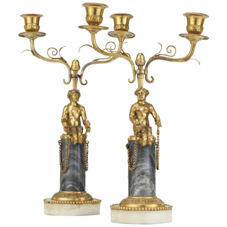 Pair of 19th Century Ormolu and Marble Candelabra For Sale