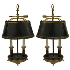 Pair of 19th Century Ormolu and Tole Bouillotte Lamps