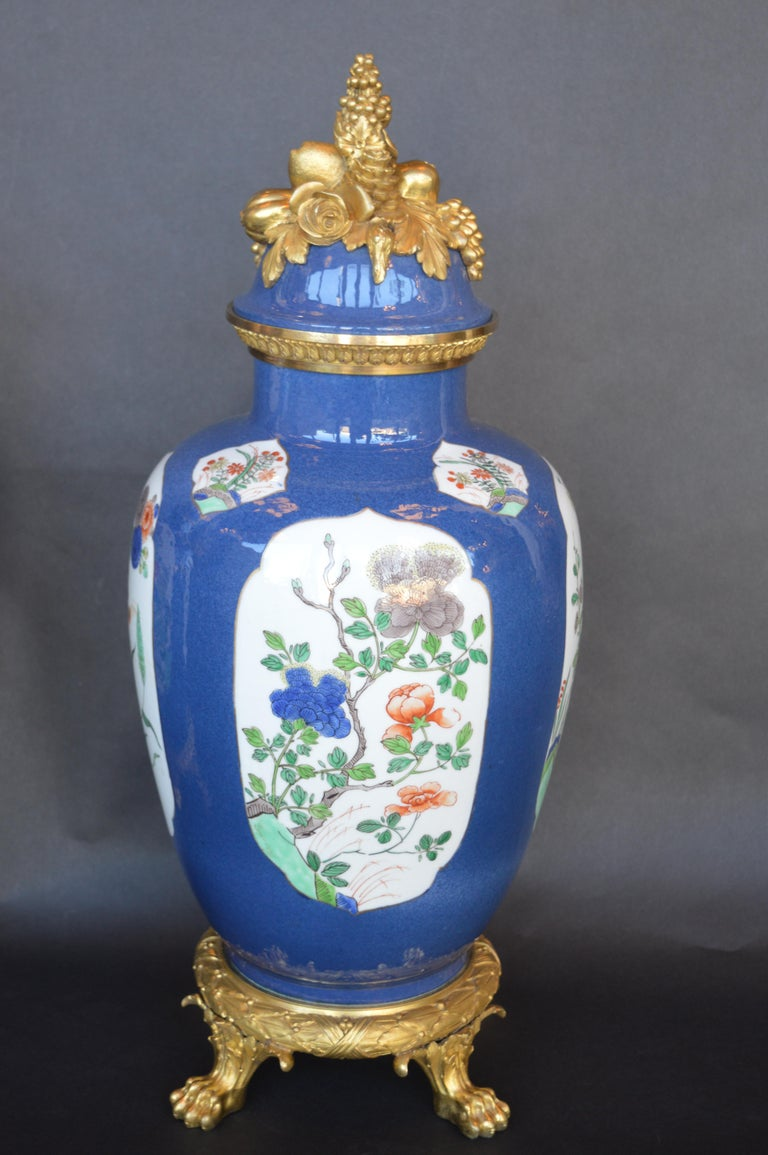 Pair of 19th Century ormolu-mounted Chinese porcelain vases.