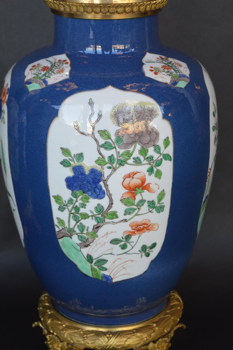 Pair of 19th Century Ormolu-Mounted Chinese Porcelain Vases For Sale 1