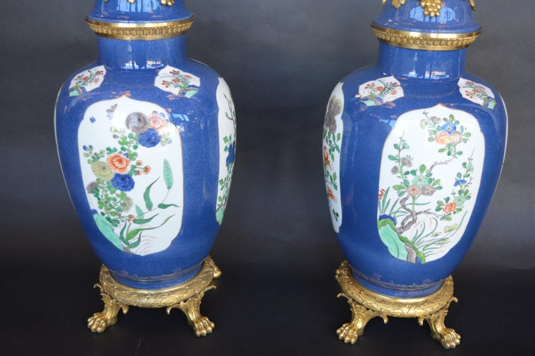 Pair of 19th Century Ormolu-Mounted Chinese Porcelain Vases For Sale 6