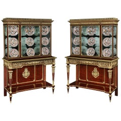 Pair of 19th Century Ormolu-Mounted Mahogany Display Cabinets by Henri Picard