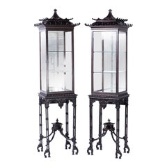 Pair of 19th Century Pagoda Display Cases