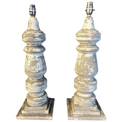 Pair of 19th Century Painted and Distressed Balusters Converted to Lamps