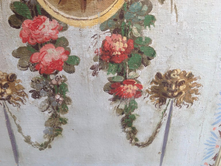 Pair of Antique Painted Canvas Window Panels For Sale 3