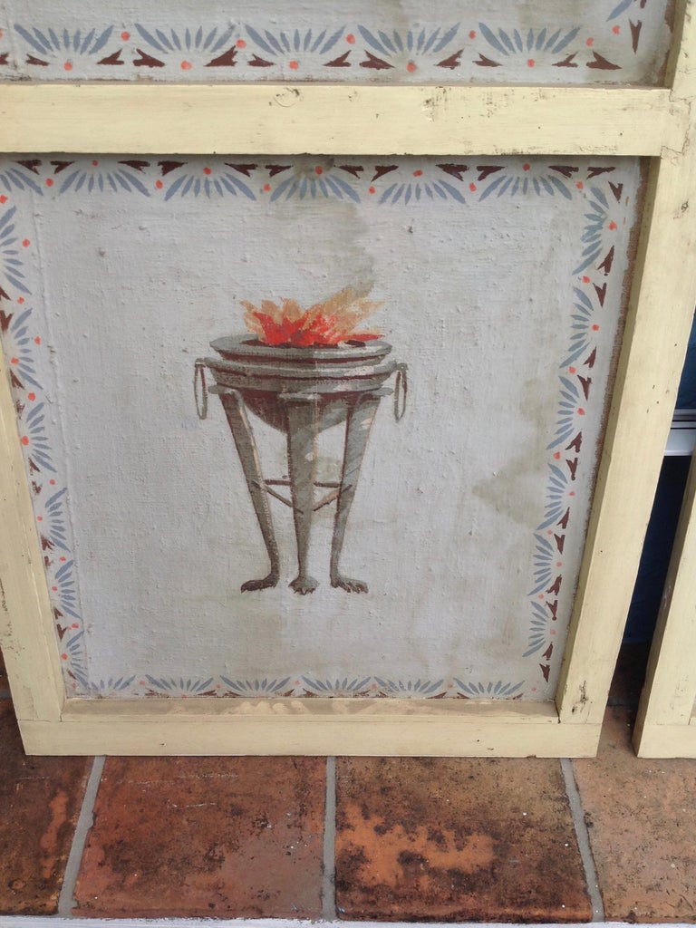 Pair of Antique Painted Canvas Window Panels For Sale 4