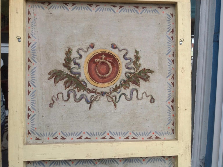 Pair of Antique Painted Canvas Window Panels For Sale 5