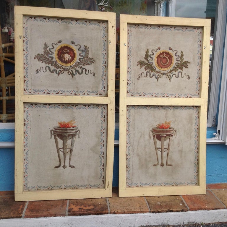 Neoclassical Pair of Antique Painted Canvas Window Panels For Sale