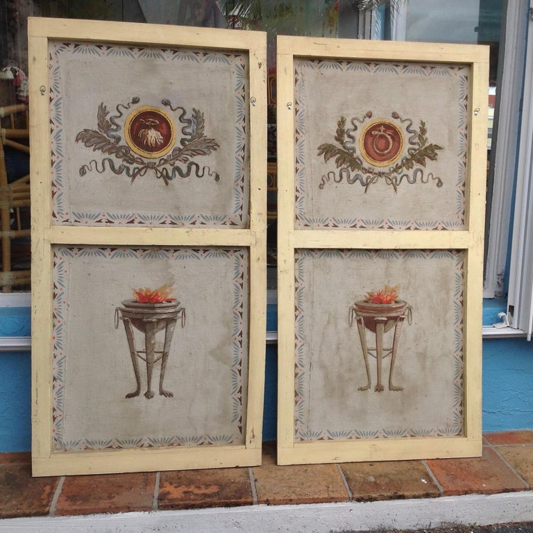 French Pair of Antique Painted Canvas Window Panels For Sale