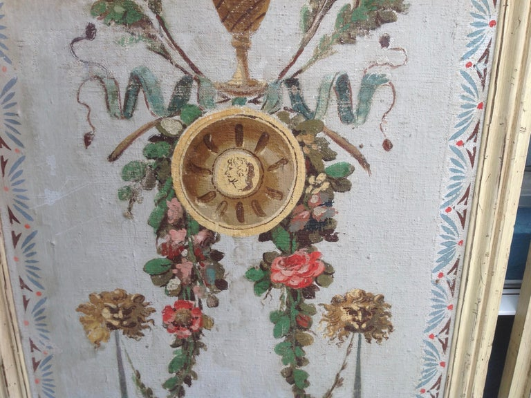 Pair of Antique Painted Canvas Window Panels In Good Condition For Sale In West Palm Beach, FL