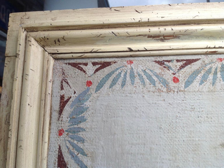 20th Century Pair of Antique Painted Canvas Window Panels For Sale