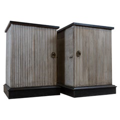Pair of 19th Century Painted & Ebonised Reeded Cabinets or Bedside Tables