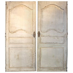 Pair of 19th Century Painted French Paneled Doors with Hardware