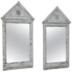 Pair of 19th Century Painted Gothic Revival Mirrors
