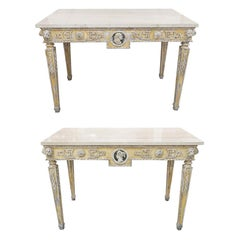 Pair of 19th Century Painted Neoclassical Console Tables
