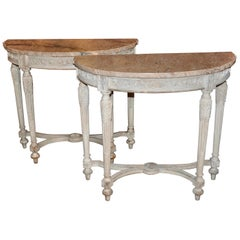Pair of Early Painted Neoclassical Console Tables with Marble Tops by Jansen