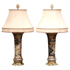 Pair of 19th Century Painted Porcelain and Bronze Japanese Imari Vases Lamps