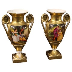 Pair of 19th Century Painted Porcelain Empire Style French Vases, 1870