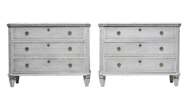 Pair of 19th Century Painted Scandinavian Chest of Drawers 2