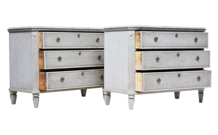 Pair of 19th Century Painted Scandinavian Chest of Drawers 3