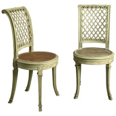 Pair of 19th Century Painted Side Chairs in the Louis XVI Manner